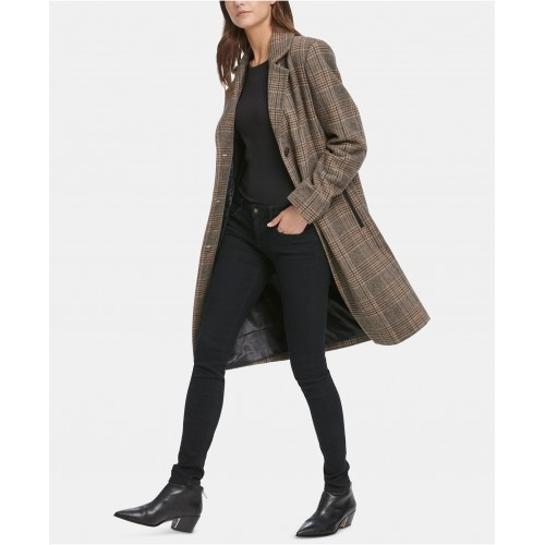 디케이엔와이 Plaid Faux-Leather-Trim Walker Coat, Created for Macys
