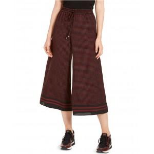 Printed Wide-Leg Cropped Pants