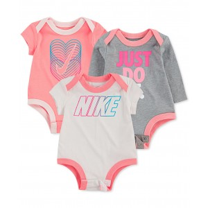 Baby Girls 3-Pk. Cotton Logo Bodysuits