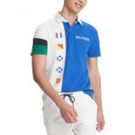 Mens Custom-Fit Caleb Colorblock Nautical Flag Polo Shirt