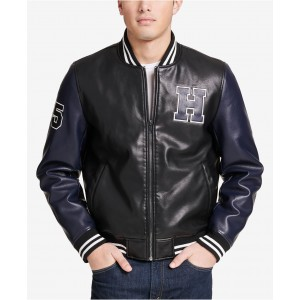Mens Big & Tall Faux-Leather Varsity Jacket, Created for Macys
