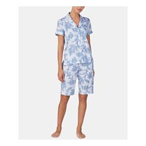 Printed Knit Cotton Notch Collar Top and Bermuda Shorts Pajama Set