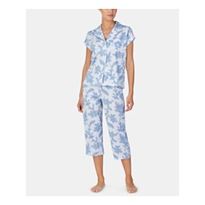 Knit Cotton Notch Collar Top and Capri Pajama Pants Set