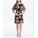 Jersey Corsage Floral A-line Dress
