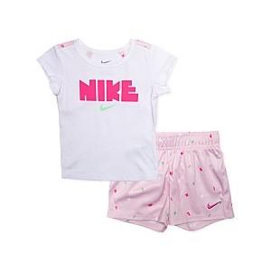 Baby Girls 2-Pc. Logo-Print Keyhole Top & Shorts Set