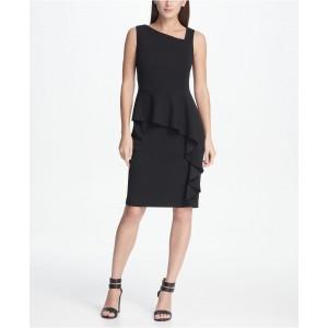 Asymmetric Neck Peplum Sheath Dress