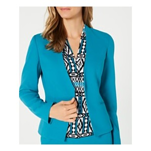 Petite Asymmetrical Open-Front Crepe Jacket
