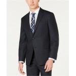 Mens Modern-Fit THFlex Stretch Blue/Charcoal Windowpane Plaid Suit Jacket