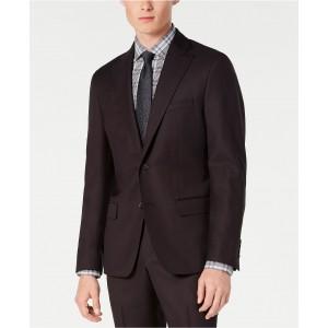 Mens Modern-Fit Stretch Burgundy Birdseye Suit Jacket