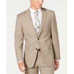 Mens Modern-Fit THFlex Stretch Tan Sharkskin Suit Separate Jacket