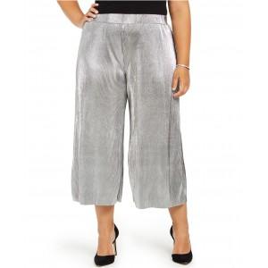 Plus Size Pleated Metallic Pants