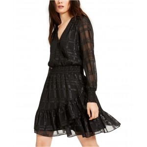 Shiny Plaid Smocked Dress, Regular & Petite Sizes