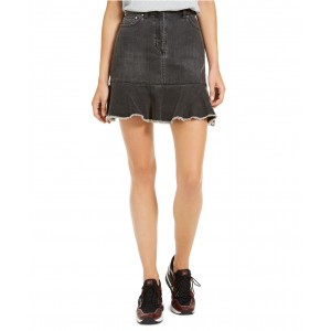Denim Flounce-Hem Skirt