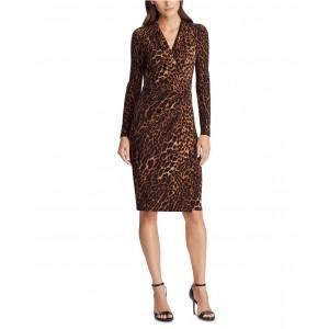 Ocelot-Print Pleated Jersey Dress