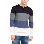 Mens Colorblocked Henley Sweater