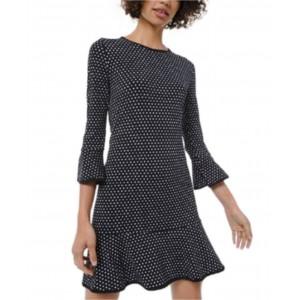 Petite Mini-Dot Flounce Dress