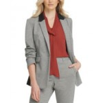 Petite Contrast-Trim Single-Button Blazer