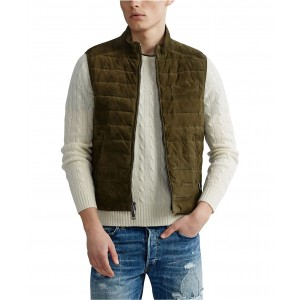 Mens Quilted Suede Vest
