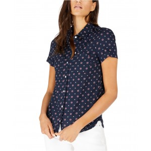 Printed Button-Down Cotton Top