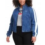 Trendy Plus Size Denim Coaches Track Jacket