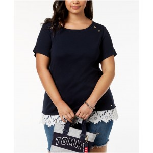 Plus Size Cotton Lace-Trim Top, Created for Macys