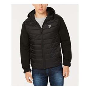 Mens Reversible Hooded Bomber Jacket with Quilted Faux Vest