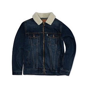 Big Boys Zip-Front Trucker Jacket with Fleece Collar