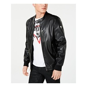 Mens Faux-Leather Bomber Jacket