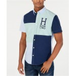 Mens Sterling Custom-Fit Colorblocked Embroidered Logo Shirt, Created for Macys