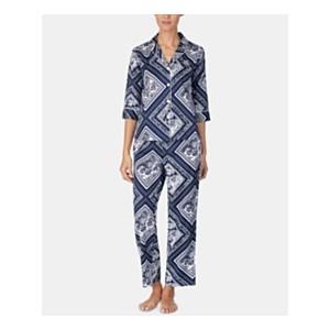 Printed Cotton 3/4-Sleeve Top and Pajama Pants Set