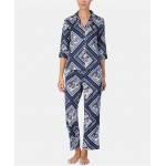 Printed Cotton 3/4-Sleeve Top and Pajama Pants Set