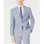 Mens Modern-Fit Light Blue Sharkskin Suit Jacket