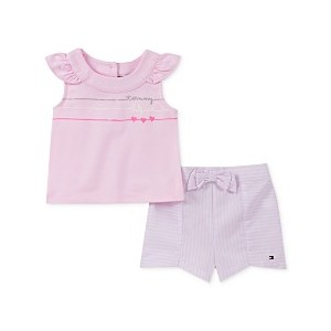 Baby Girls 2-Pc. Top & Striped Shorts Set