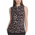 Floral-Print Pleated Tie-Neck Top