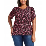 Plus Size Botanical Print Top