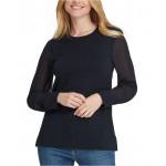 Sheer-Sleeve Sweater
