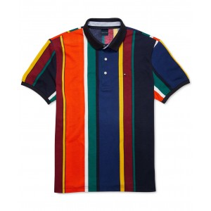Mens Custom-Fit Junior Striped Polo Shirt with Magnetic Buttons