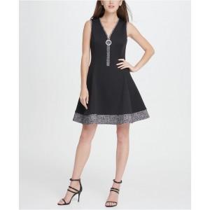 V-Neck Scuba Tweed Combo Zipper Fit Flare Dress