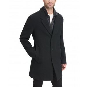 Mens Top Coat with Removable Quilted Bib, Created For Macys