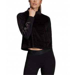 Sport ID Velour Funnel-Neck Cropped Top