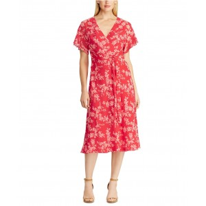 Floral Tie-Front Georgette Dress