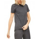 Petite Micro Check Print Tunic Top
