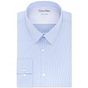 X Mens Extra-Slim Fit Thermal Stretch Performance Stripe Dress Shirt