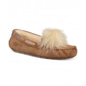 Womens Dakota Moccasin Pom Pom Slippers
