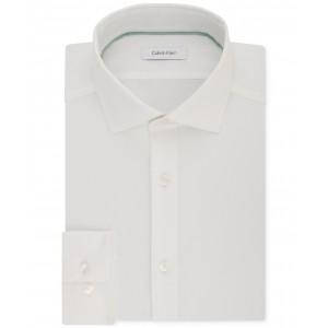 Mens STEEL Slim-Fit Non-Iron Performance Stretch Spread Collar White Dress Shirt