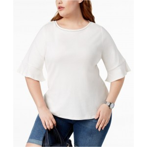 Plus Size Cotton Flared Elbow-Sleeve Top, Created for Macys
