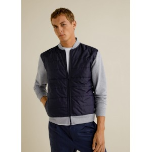 Contrast quilted panel bomber