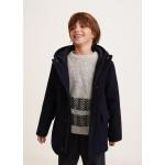 Hood wool-blend duffle coat