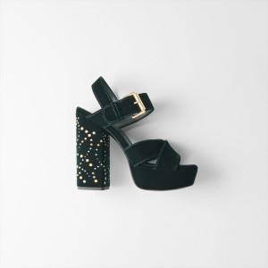 119 FRILBU Studded velvet platform sandals