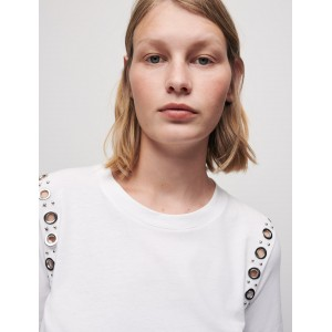220TILLET White T-shirt with rock eyelets